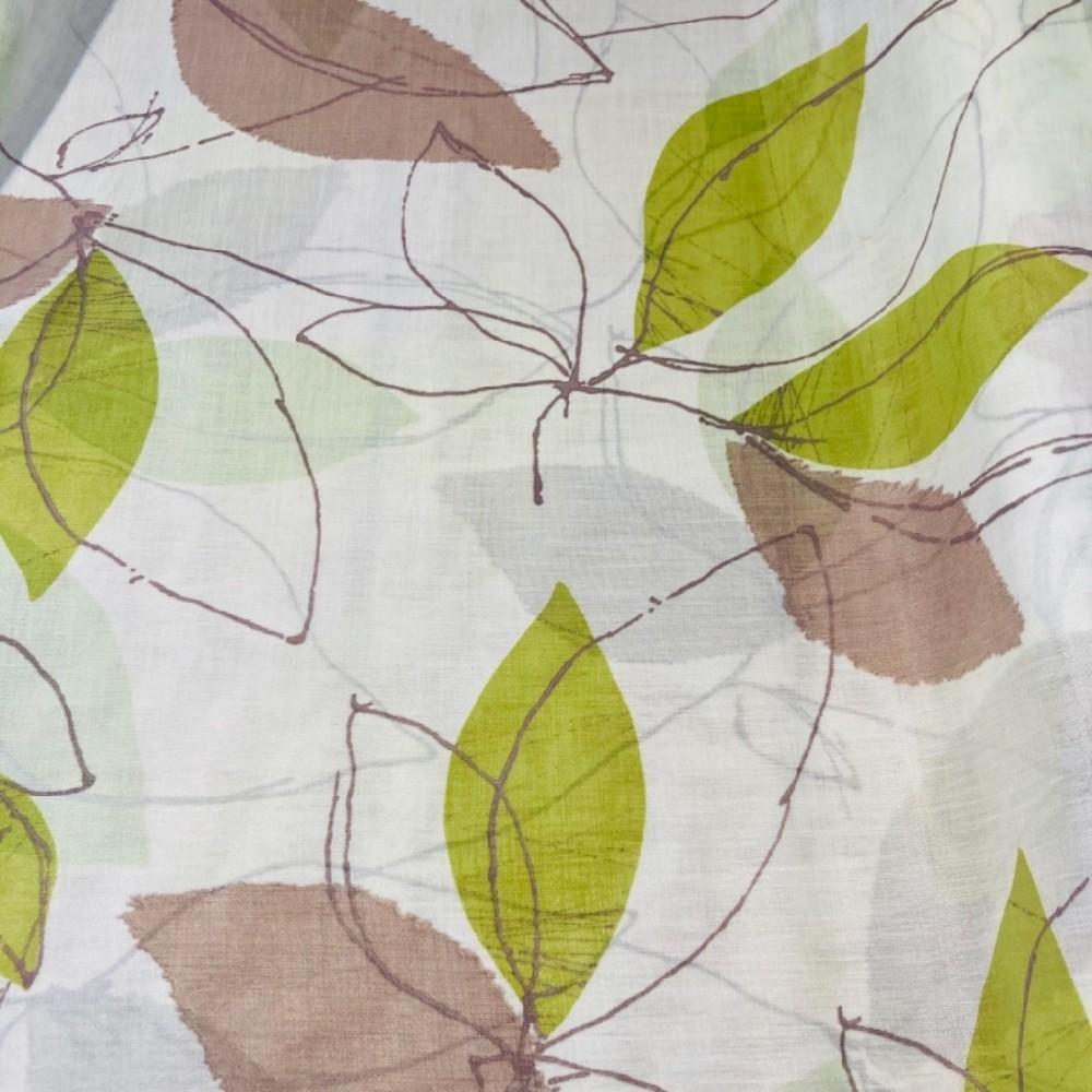 záclona voál š.150 krémová zelené listy