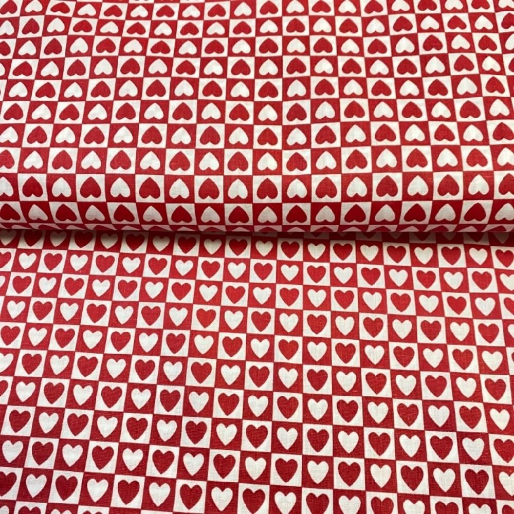 bavlna srdce červeno-bílé