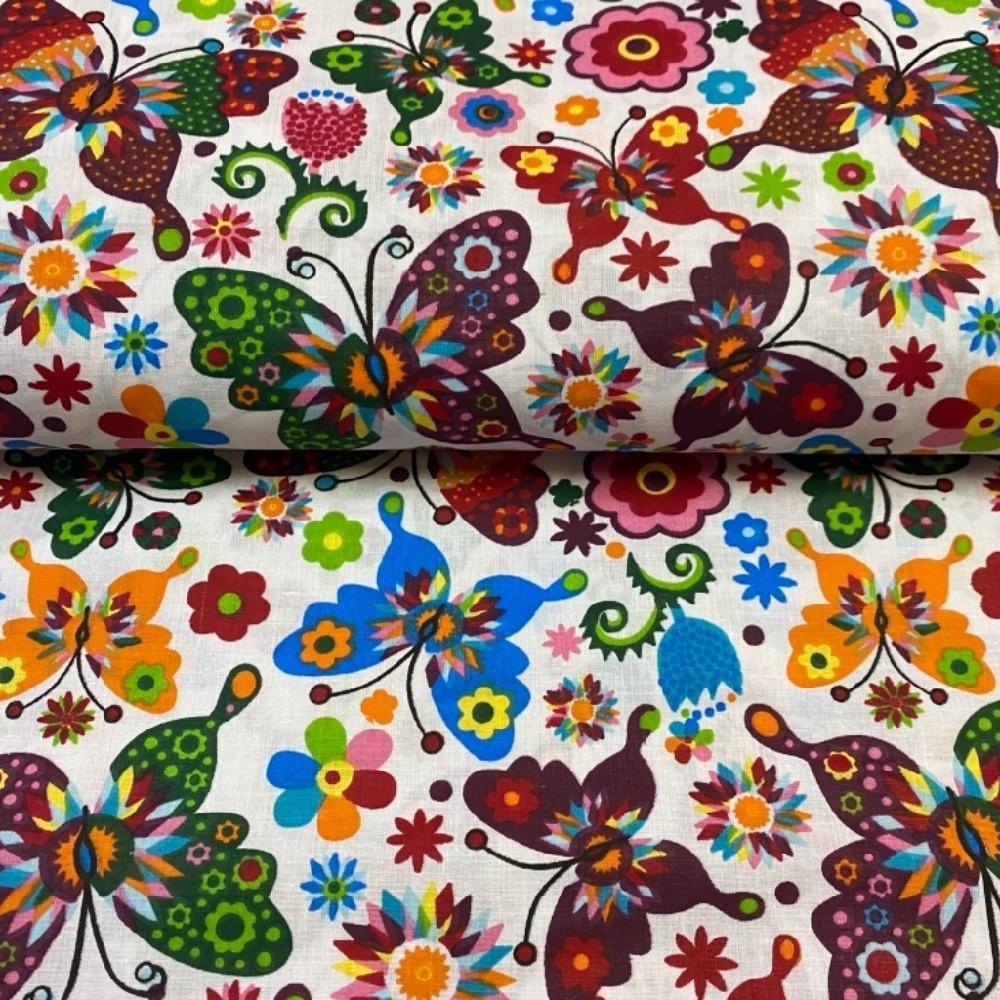 bavlna motýli barevní