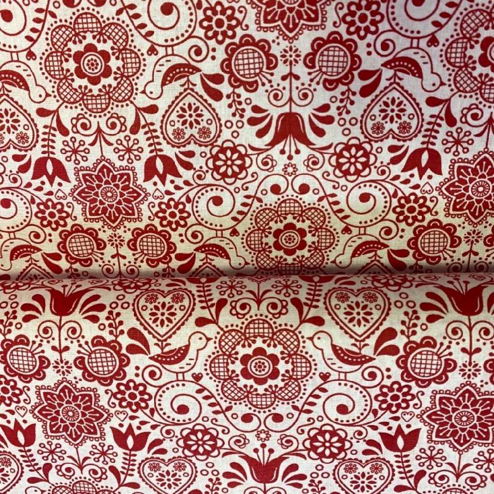bavlna folklor bílo červená