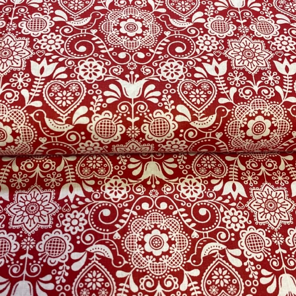 bavlna folklor červeno bílá