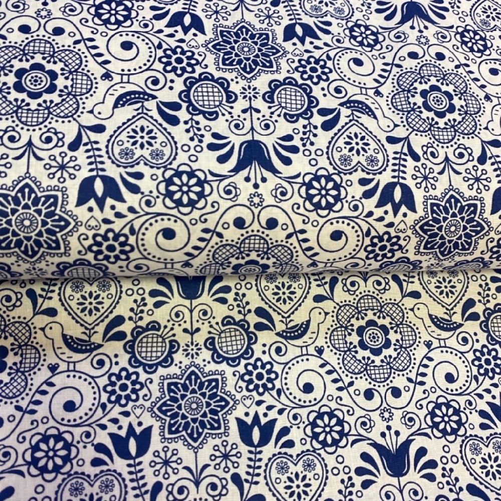 bavlna folklor bílo modrá