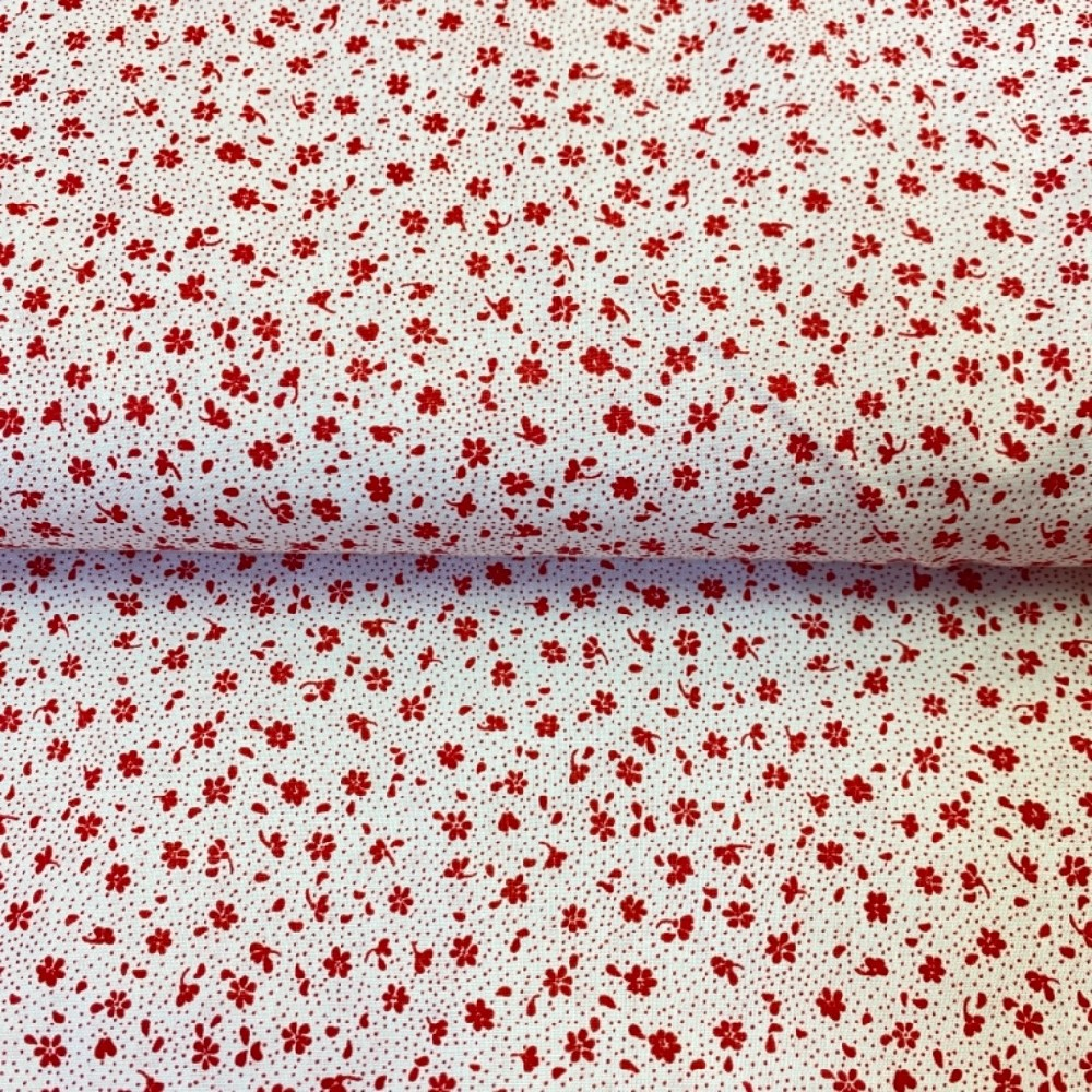 bavlna bílá červené květy
