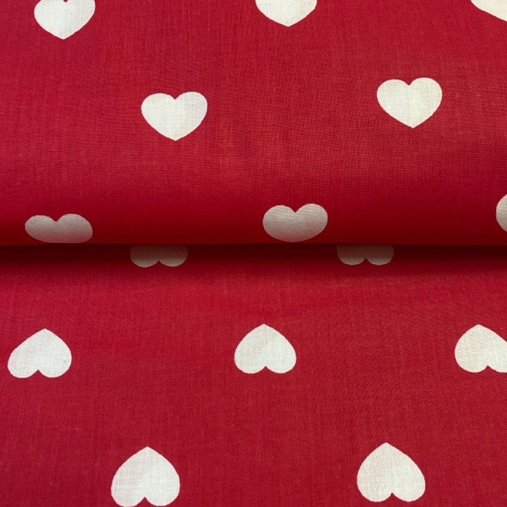 bavlna červená bílé srdce