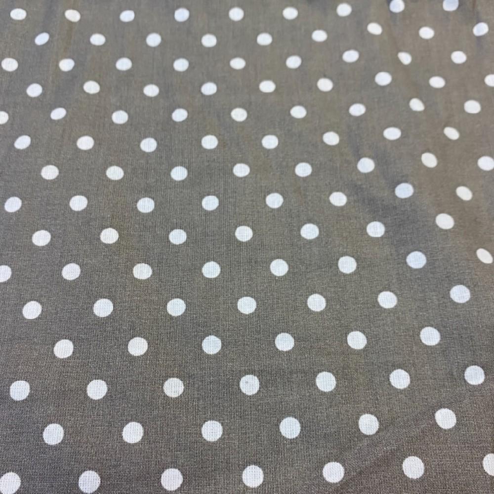 bavlna středně hnědá bílý puntík