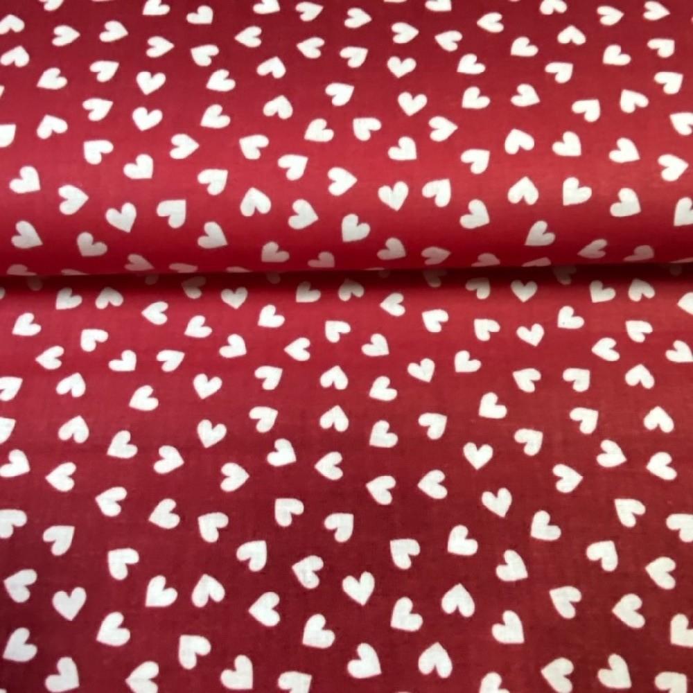 bavlna červená bílé srdíčka