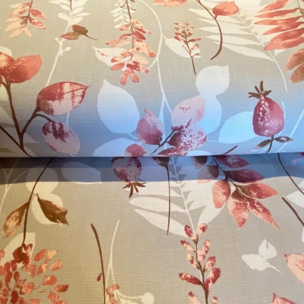 bavlna režná béžová pdrově růžové květy