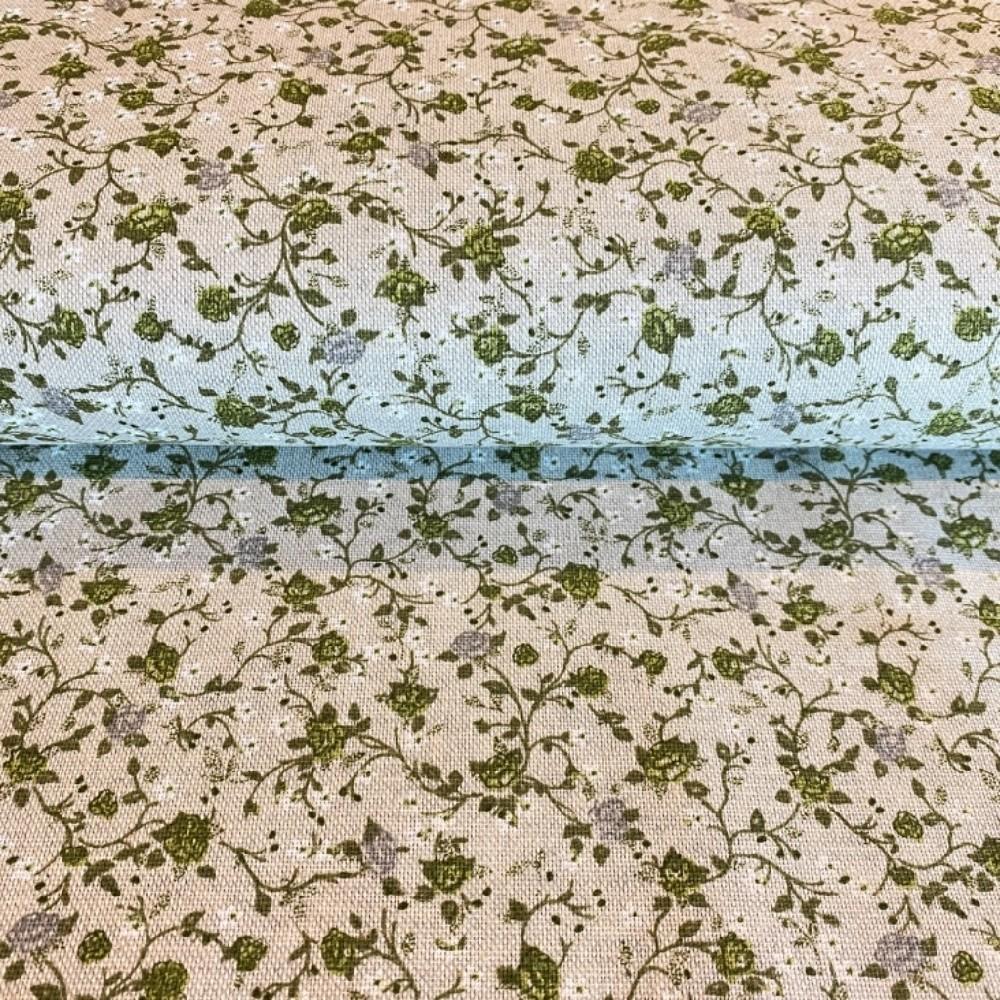 dekoračka béžová zelené květy
