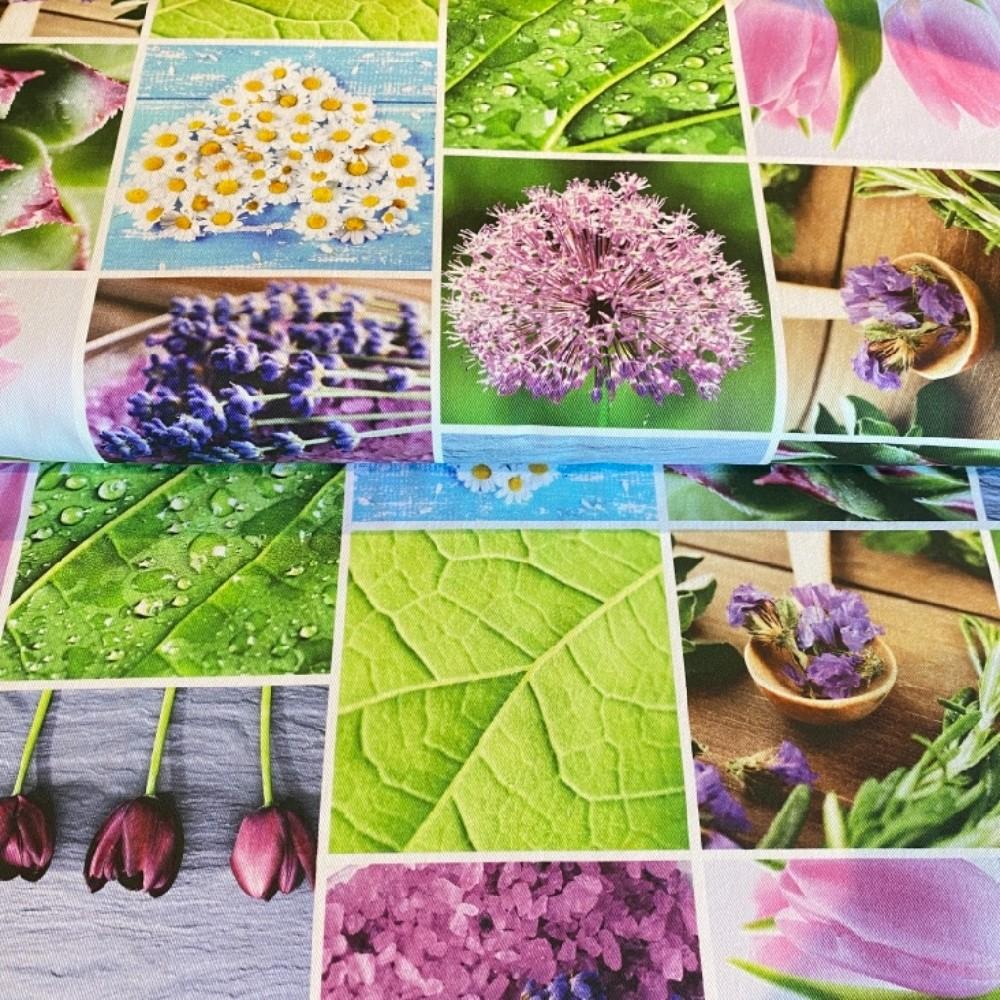 bavlna digi tisk víno-zel.květy listy
