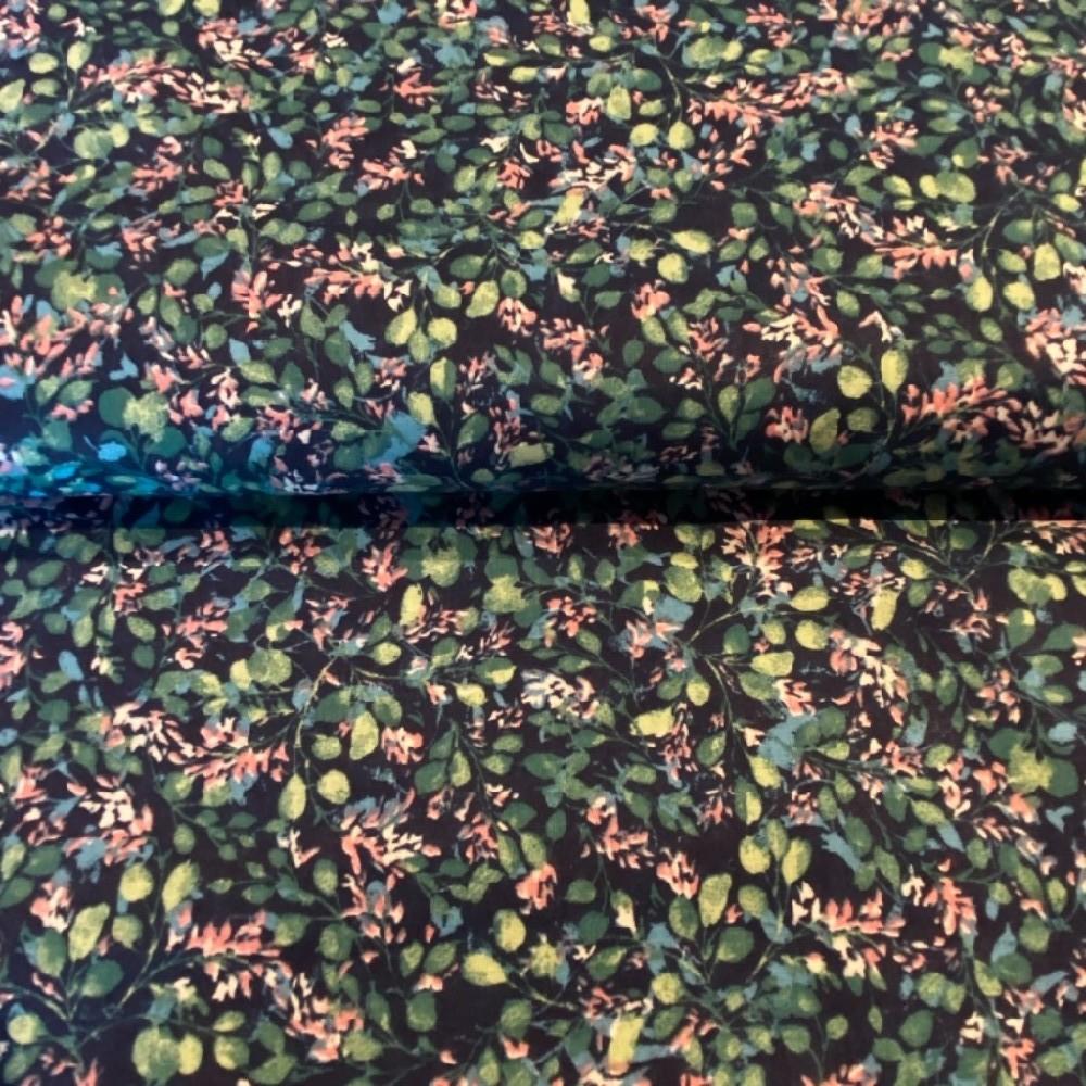 bavlna tm.modrá zelené lístky růžové květy