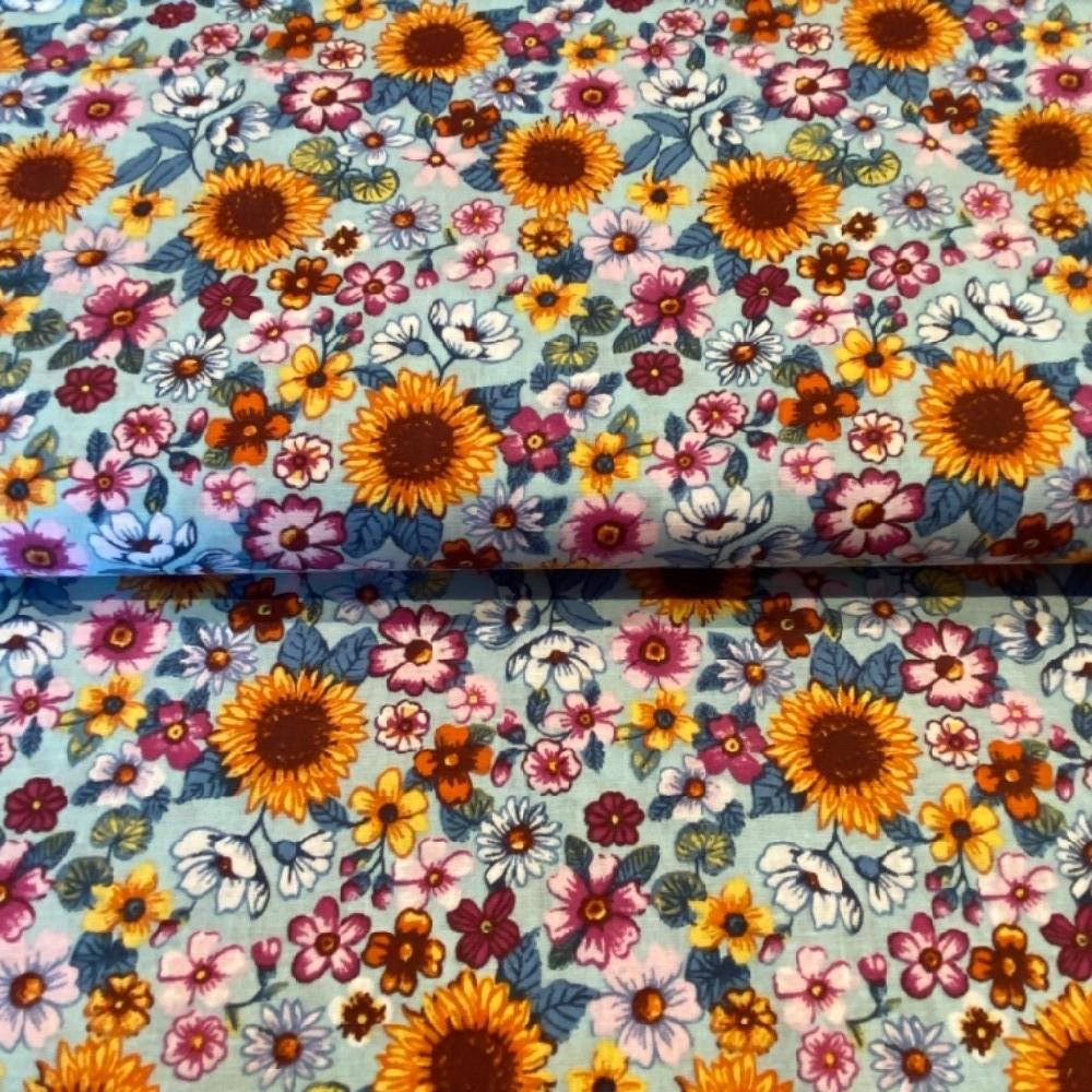 bavlna sv.modrá slunečnice