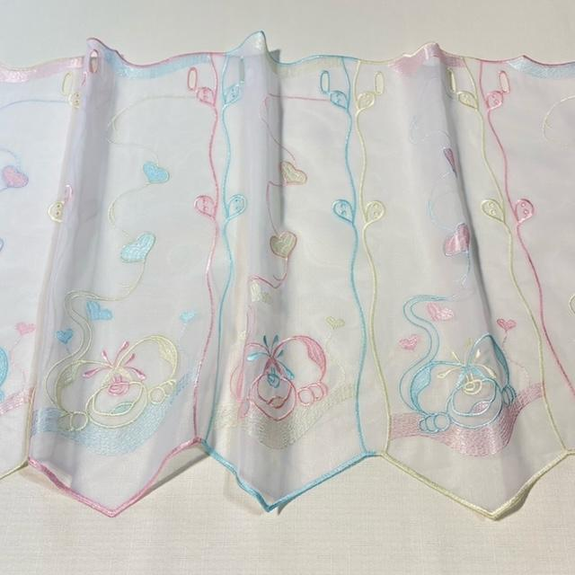 záclona vitrážka, myšky, pastelové barvy v.45cm mess