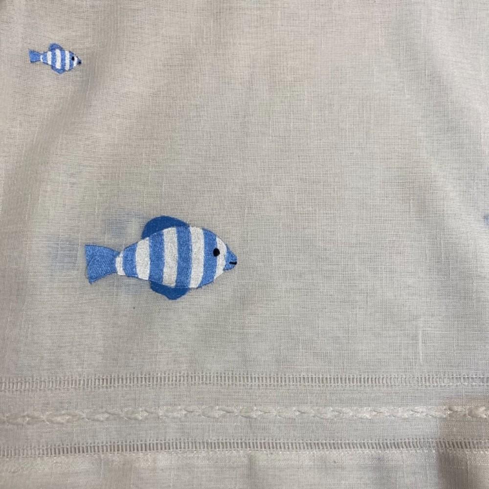 záclona rybičky modré vyšívané v.280