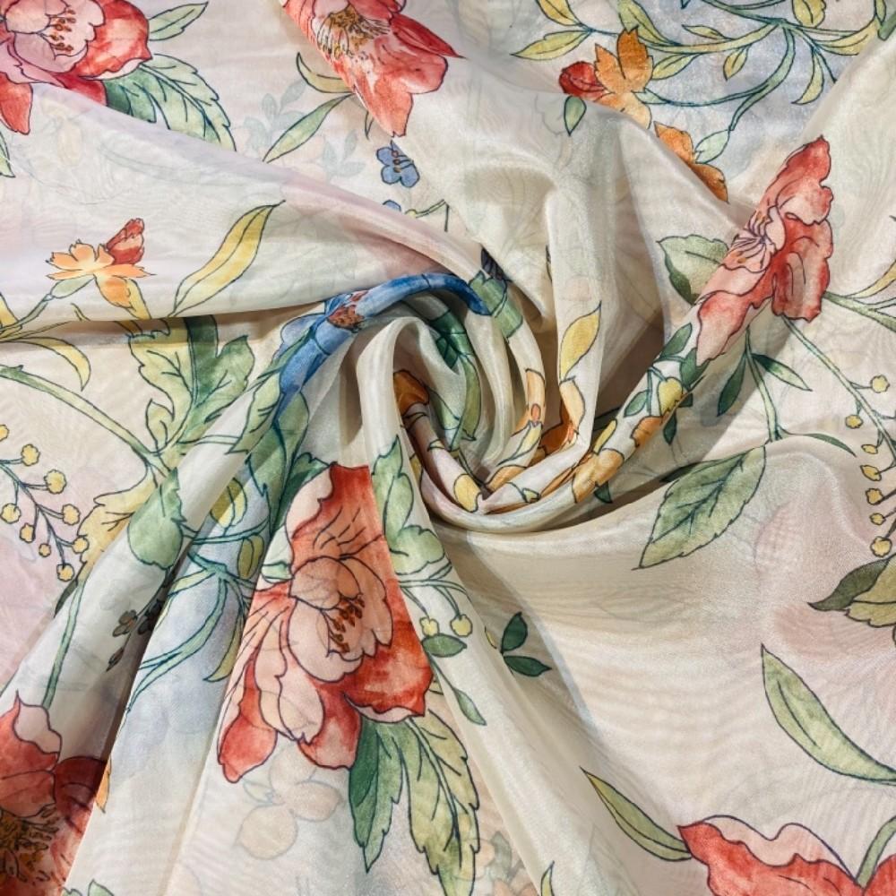 záclova voál š.160 krémová květy