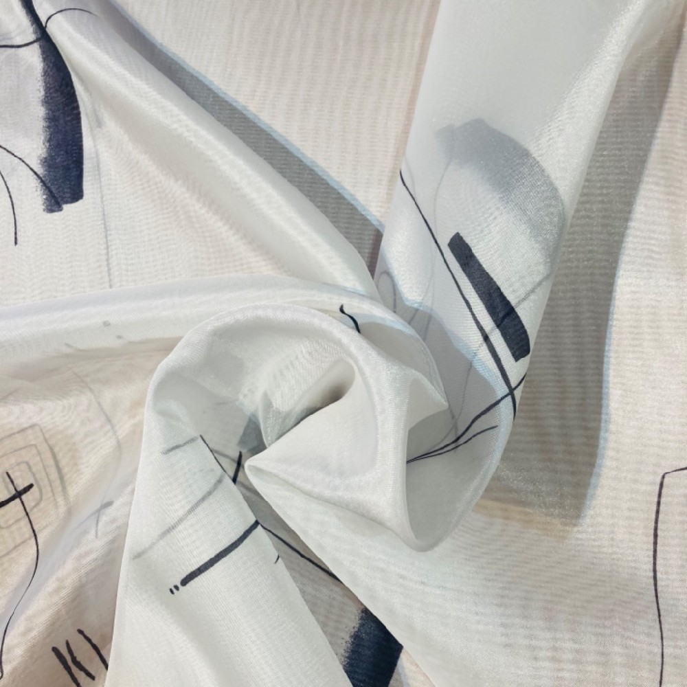 záclona voál š.150 bílá s černými vzory