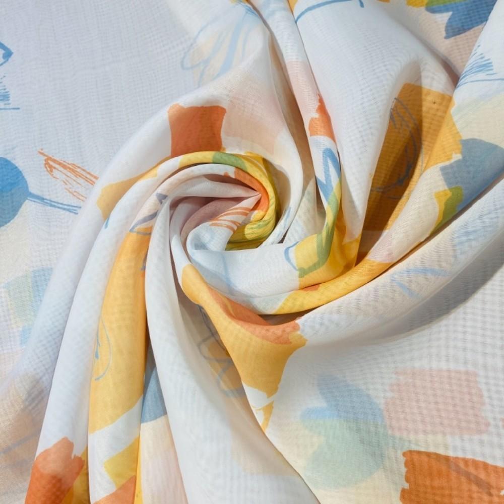 záclona voál š.150 bílá s modro oranžovými květy