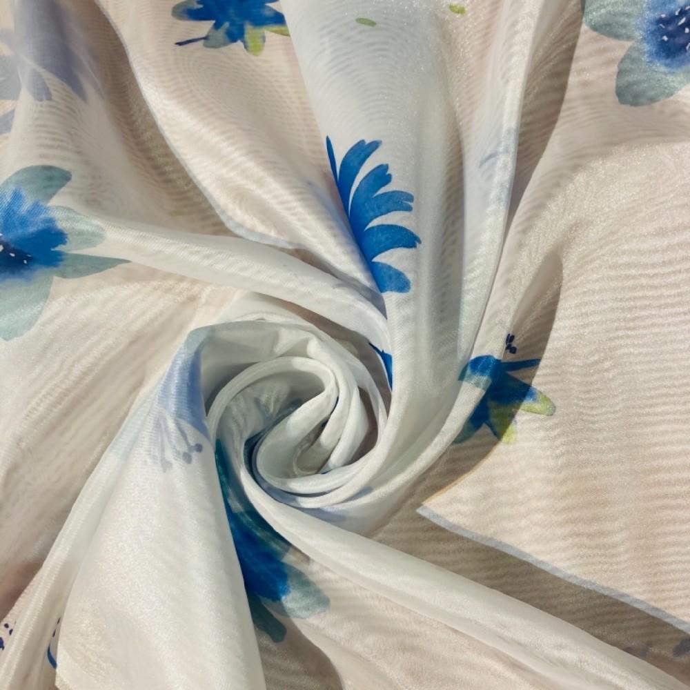 záclona voál š.150 bílá s modrými květy