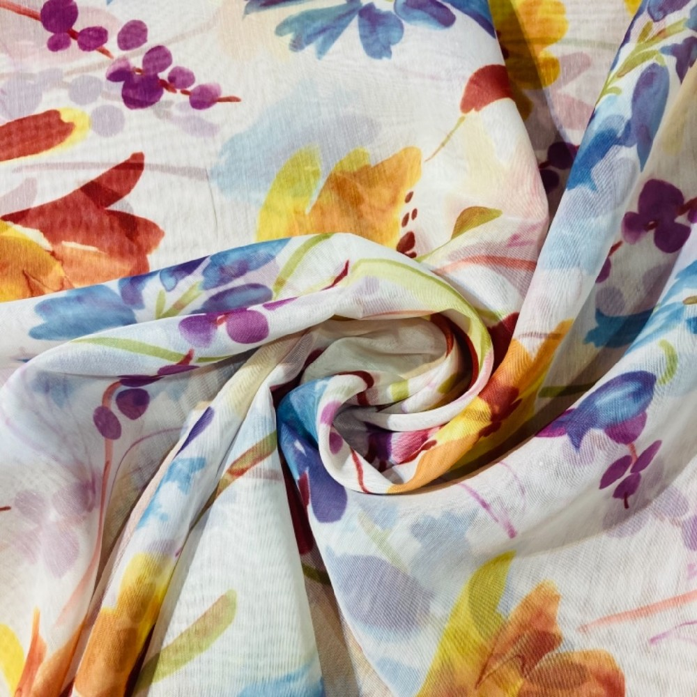 záclona voál š.140 bílá s barevnými květy
