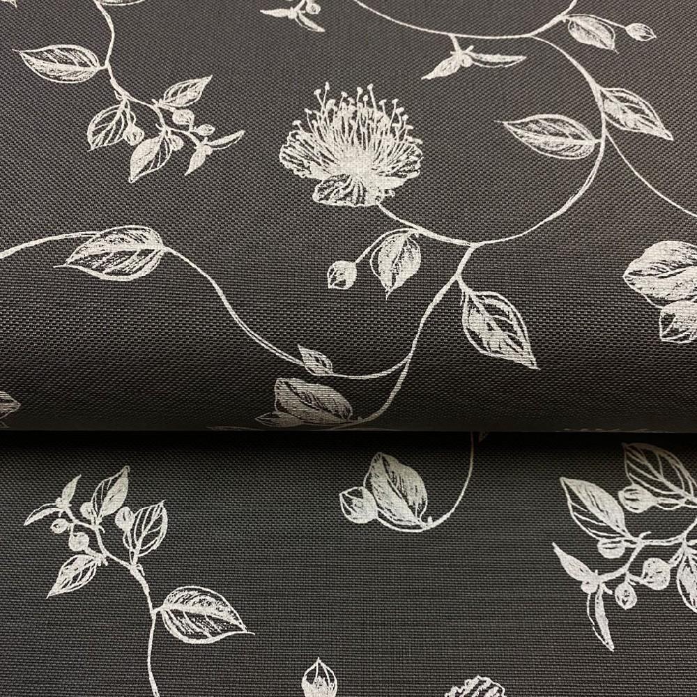 dekoračka šedá bílé květy 160cm polyacryl