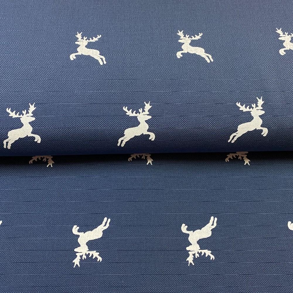 dekoračka modrá bílý jeleni 160cm polyacryl