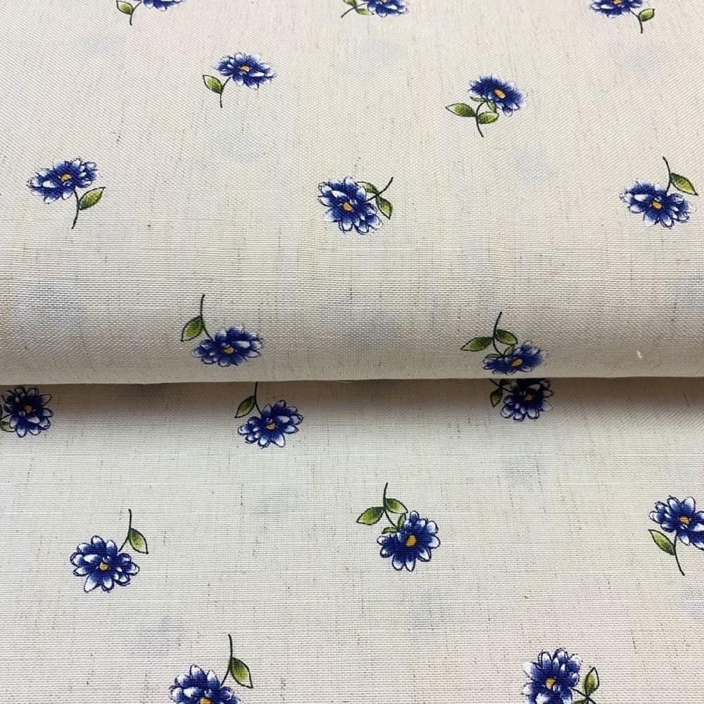 dekoračka krémová modré květy 160cm polyacryl