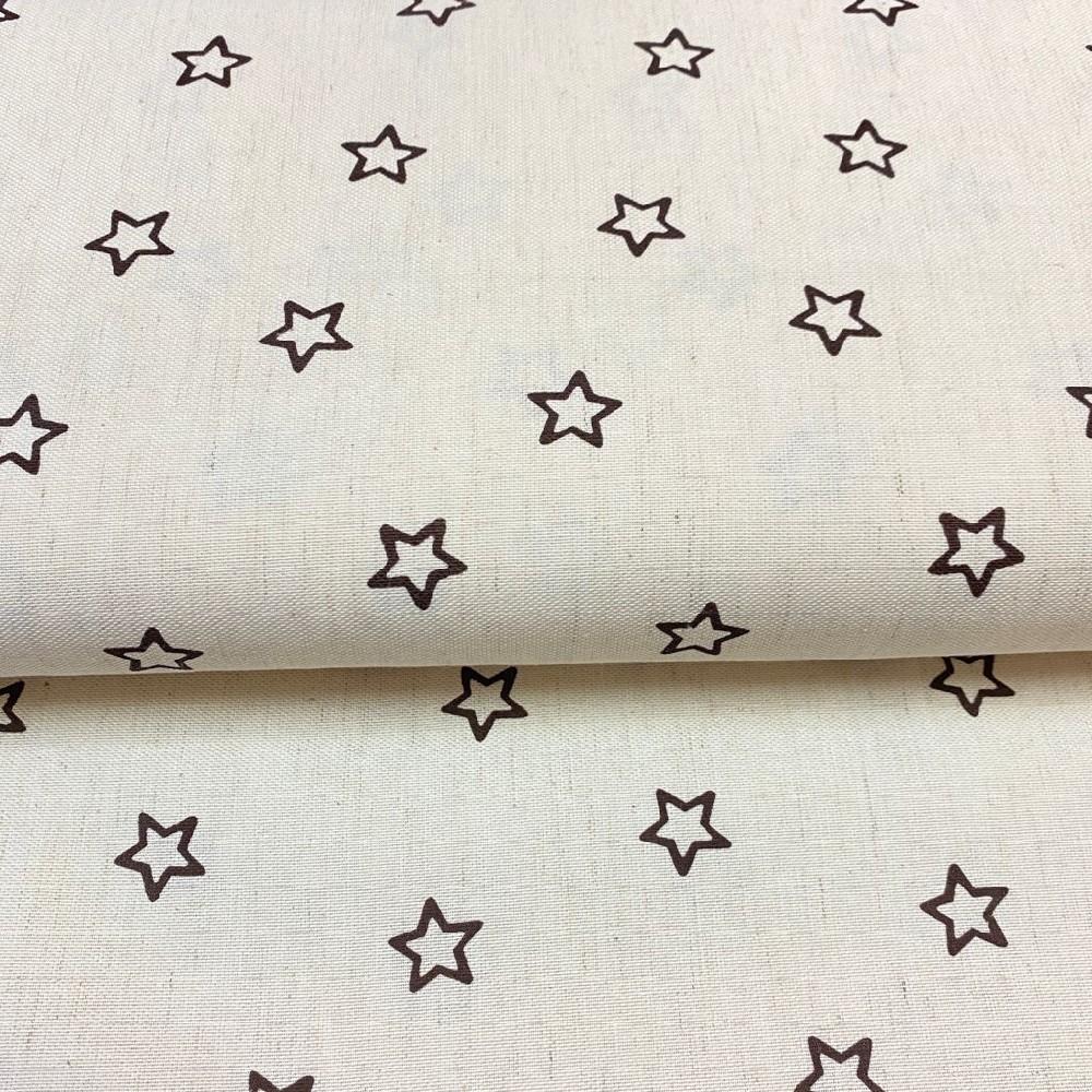 dekoračka krémová hnědé hvězdy160cm polyacryl
