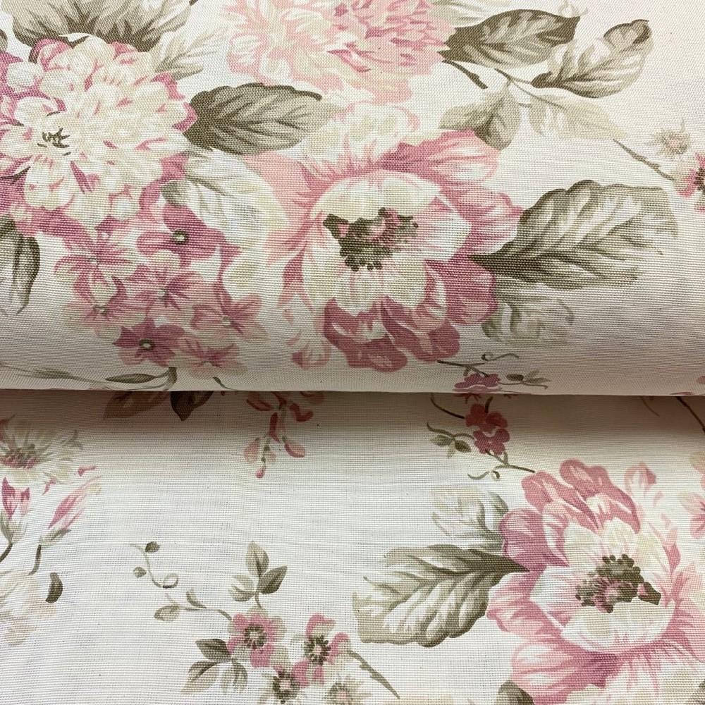 dekoračka krémová velké růžové květy a listy 160cm polyacryl