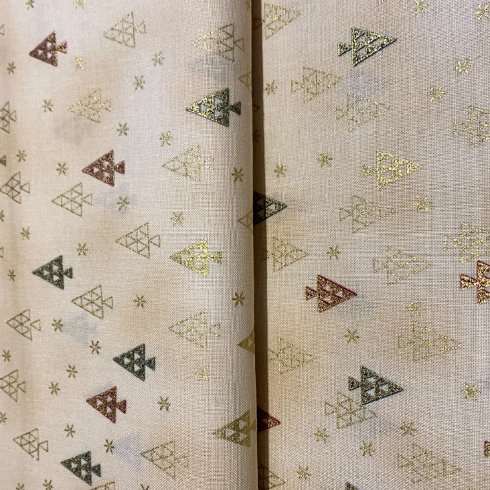 bavlna vánoční zlaté stromečky 110 cm
