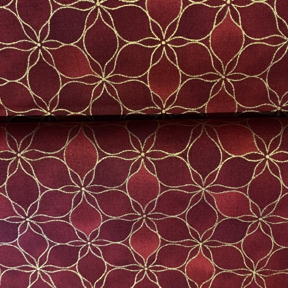 bavlna vánoční bordo zlatá 110 cm