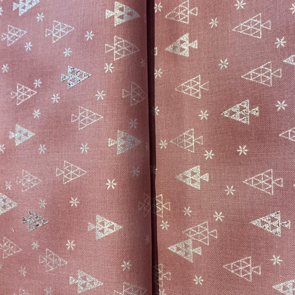 bavlna vánoční růž.stříbr.stromečky 110 cm
