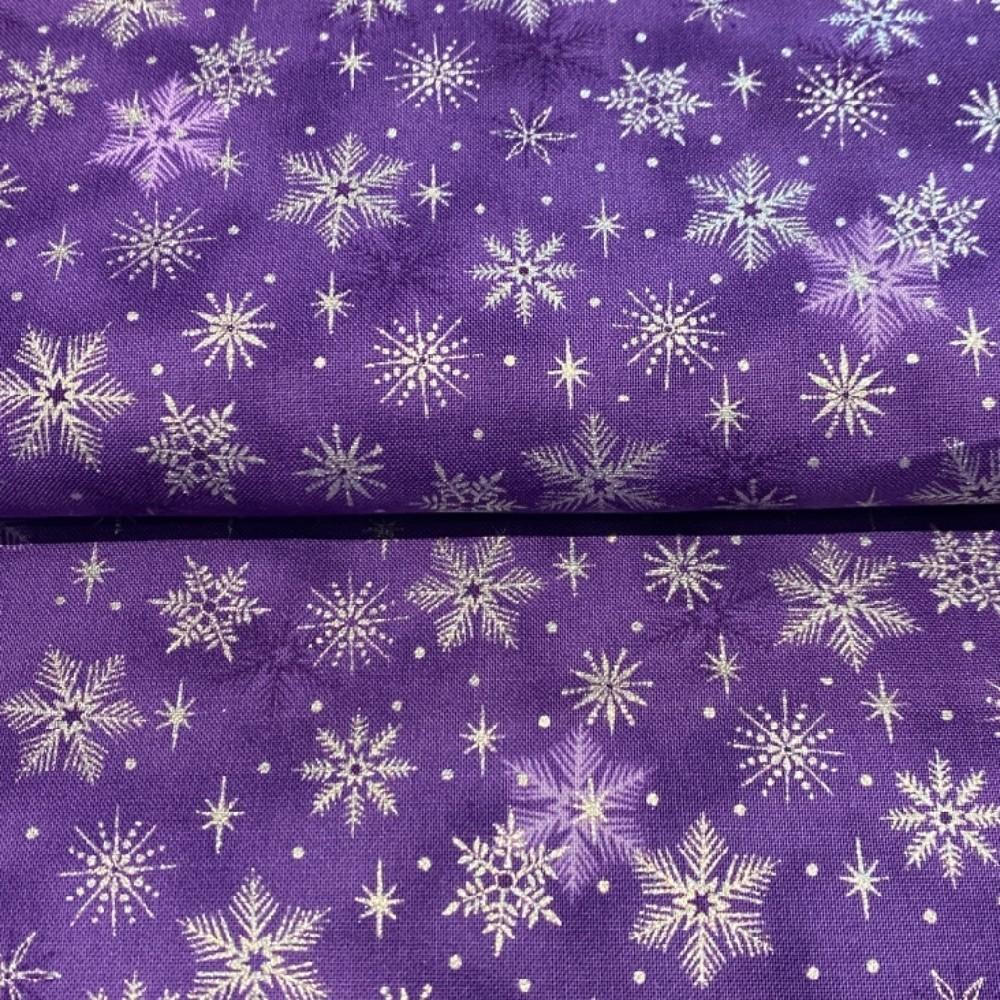 bavlna vánoční fial.stříbr.hvězdičky 110 cm