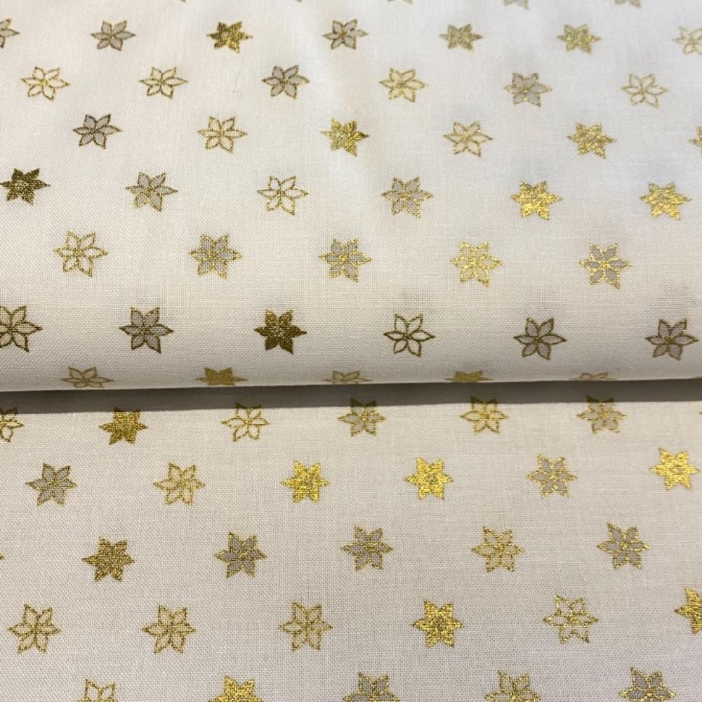 bavlna vánoční zlaté hvězdičky 110 cm
