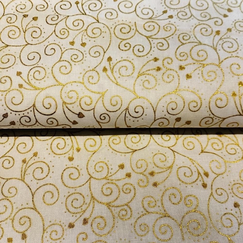 bavlna vánoční bílo zlatě kliky háky 110 cn