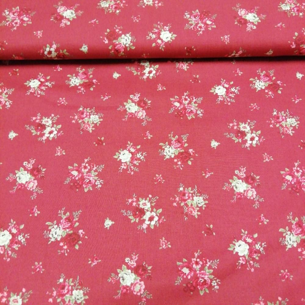 bavlna bordo růžov.kytičky 110 cm