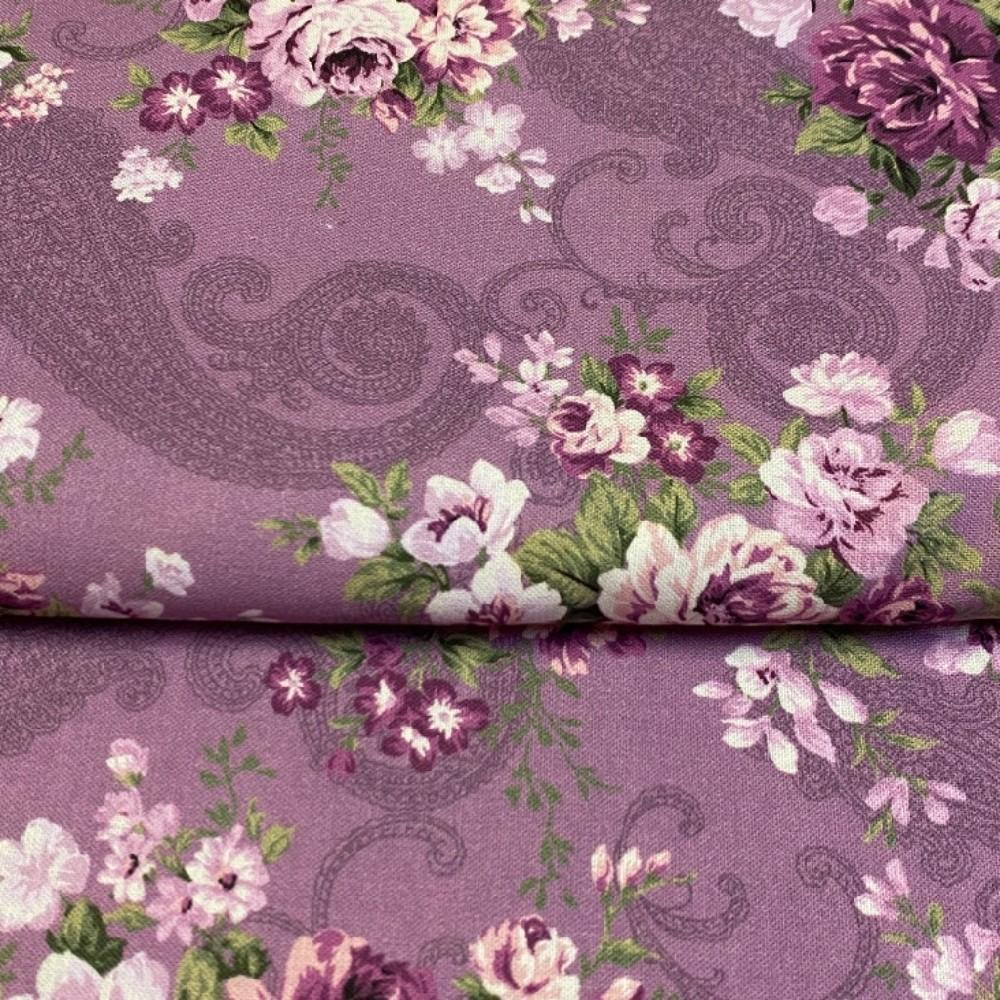 bavlna fialovo růžové růže 110 cm