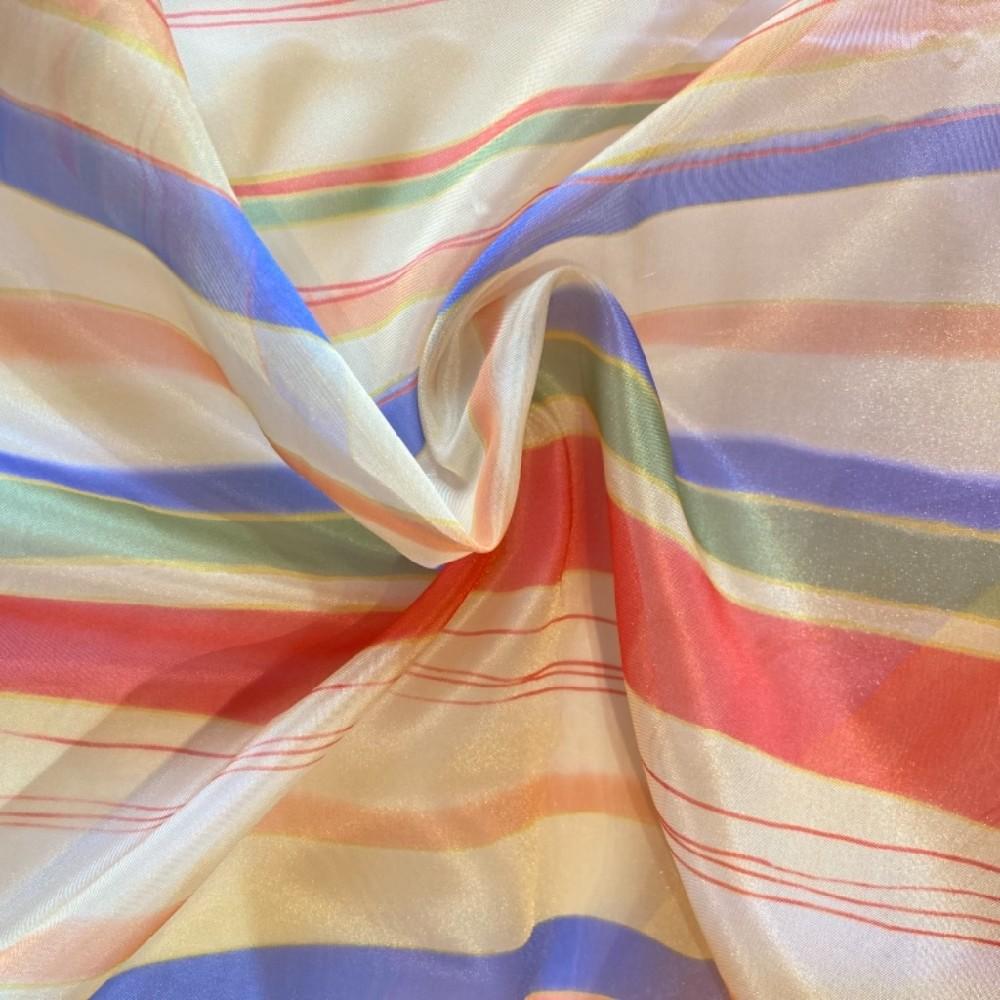 záclona voál pruhy barevné š. 140cm