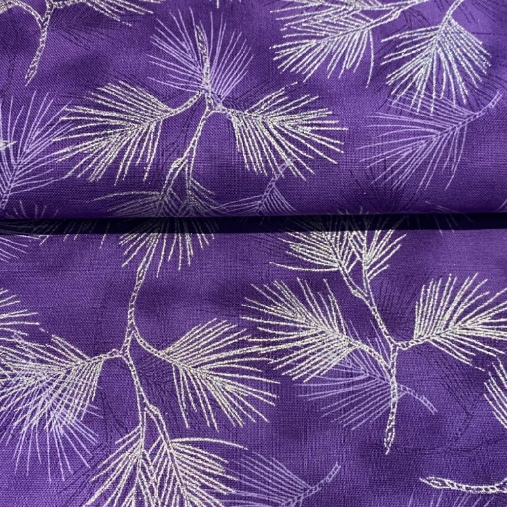 bavlna vánoční fial.stříbr.listy 110 cm