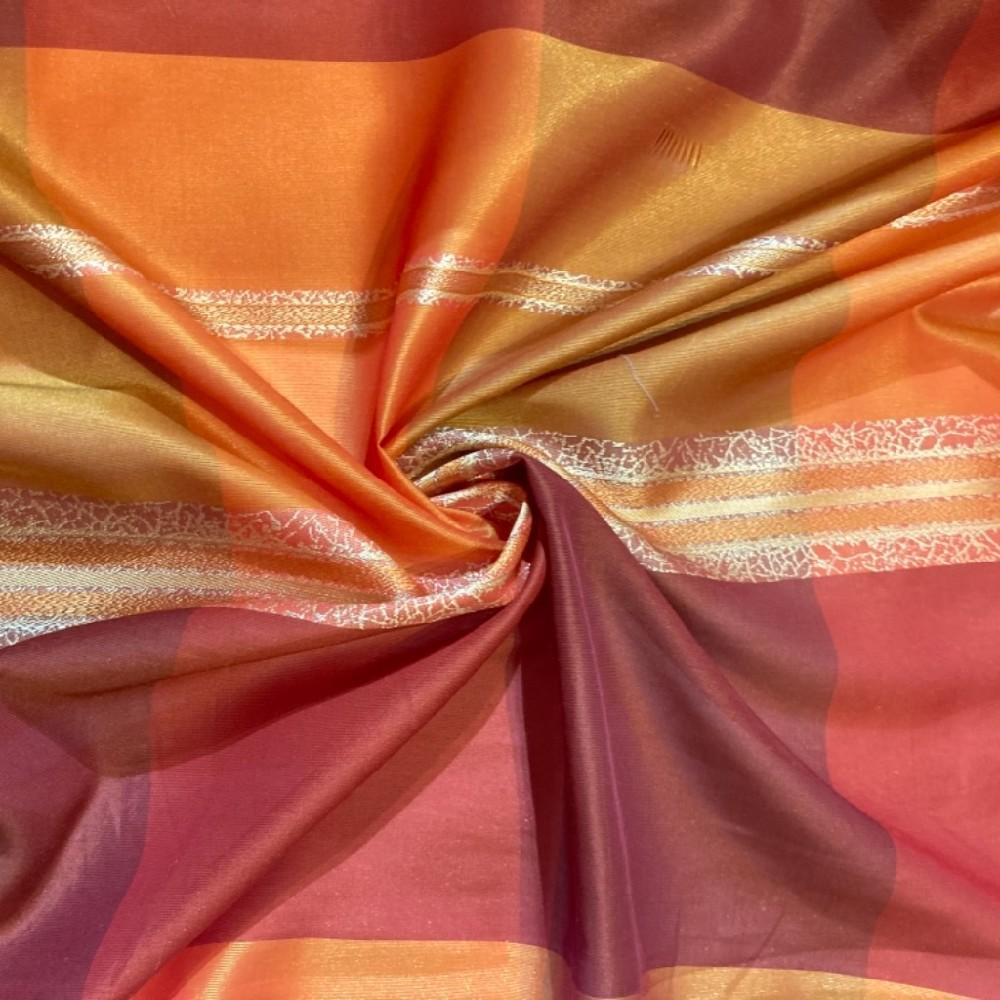 záclona voál kostky červeno oranž š. 140cm