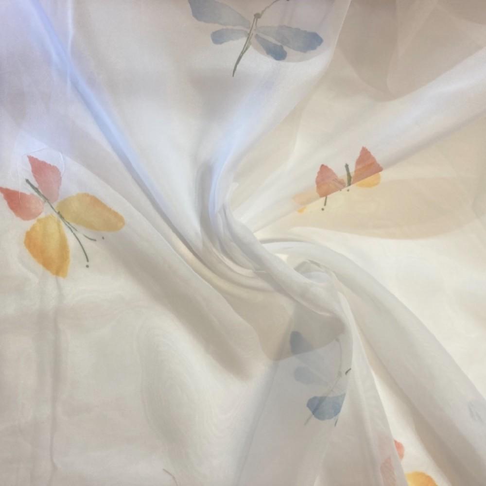 záclona voál vážky a motýli bílý podklad š. 150cm