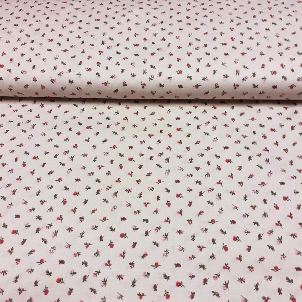 bavlna  růžové kytičky na krémovém podkladě 140 cm