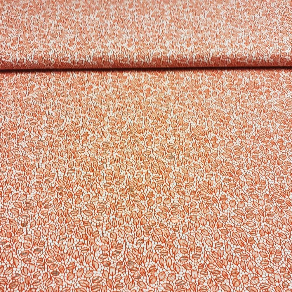 bavlna oranžové listky na béžovém podkladě 140 cm