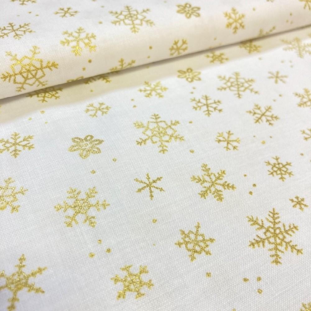 bavlna Vánoce vločky zlaté bílý podklad