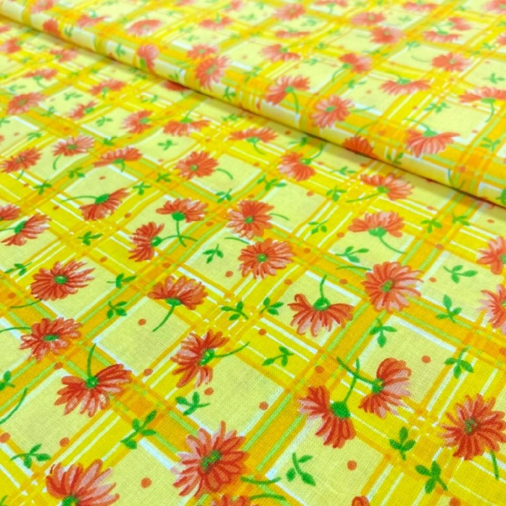 bavlna kostka oranžová květy červené