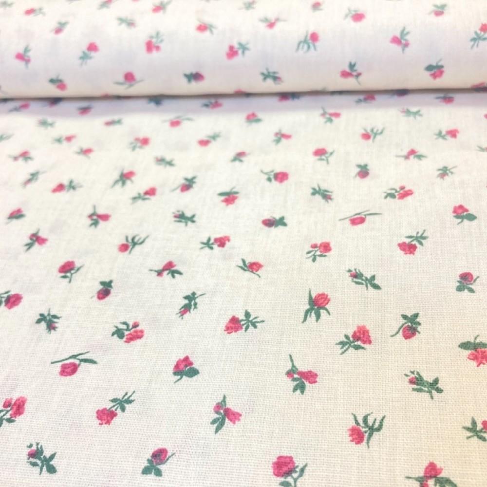 bavlna květy na bílém podkladě