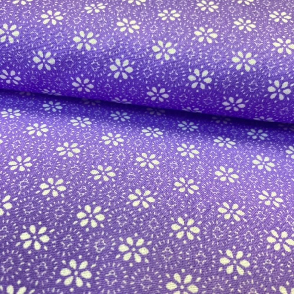 bavlna květy na fialovém podkladě
