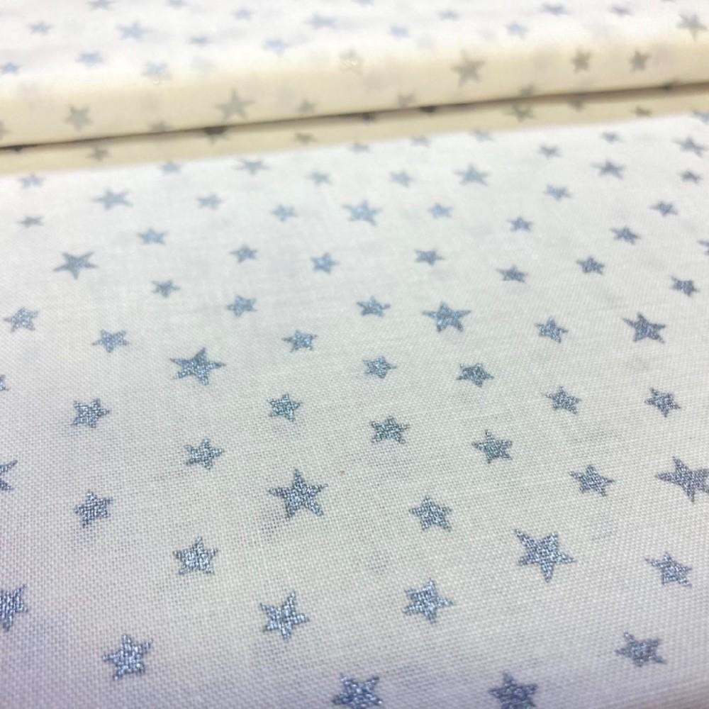 bavlna bílá stříbrné hvězy