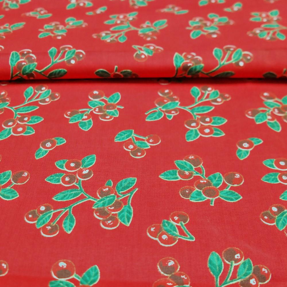 bavlna třešně na červeném podkladě 150