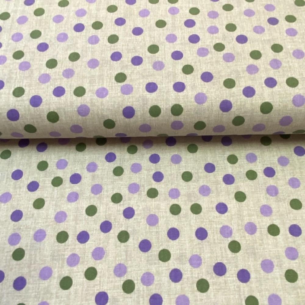 bavlna hnědá fial-zelený puntík 140cm