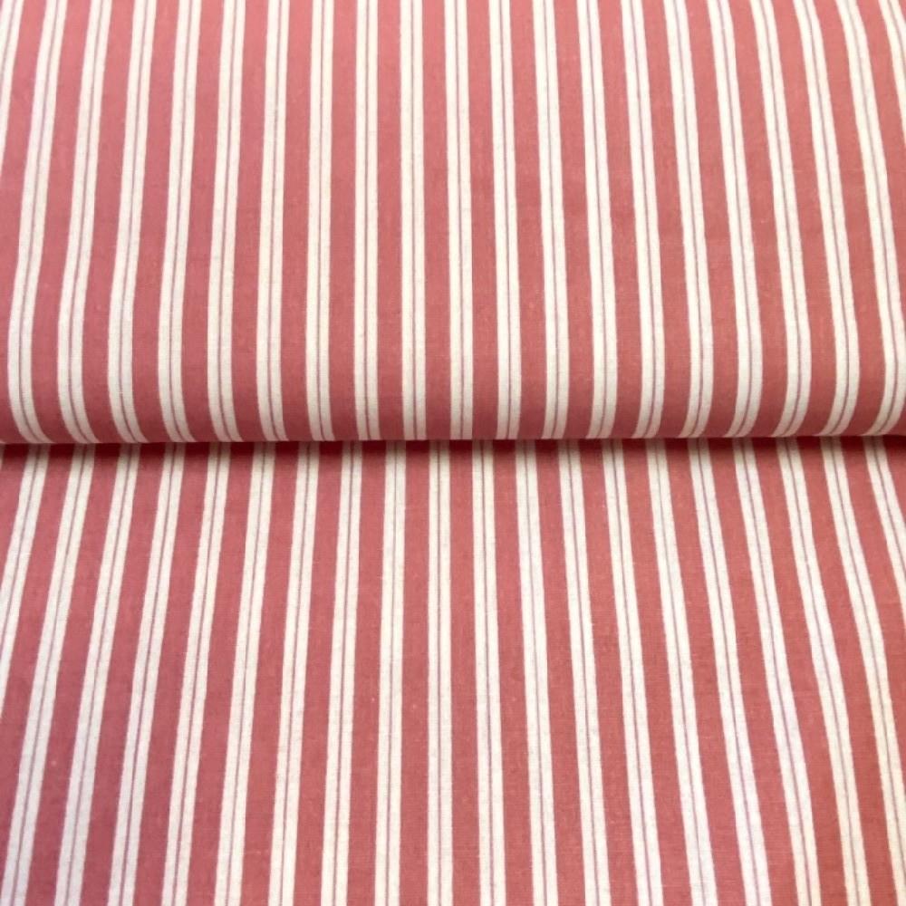 bavlna bílo-ružové proužky 140cm