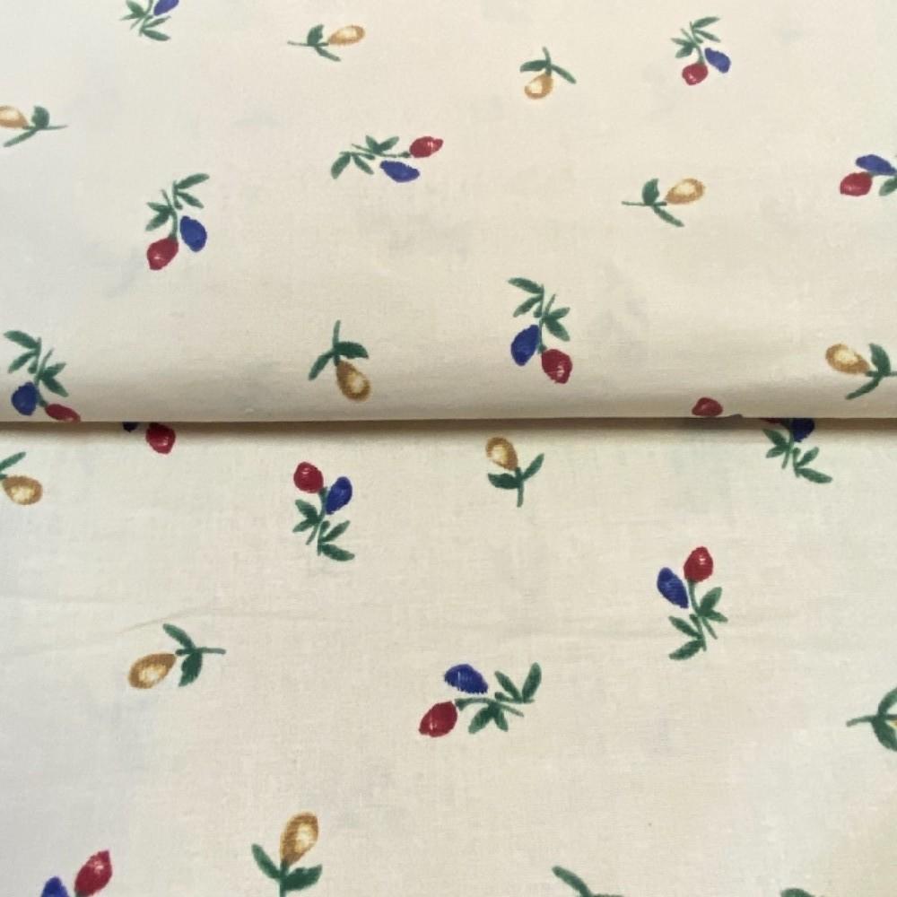 bavlna krémová barevné květy 140cm